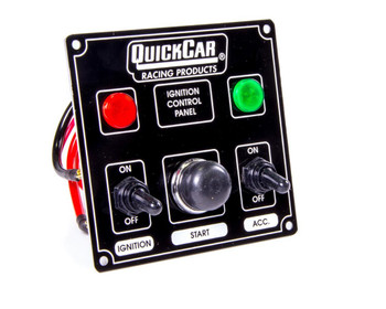 50-822 Ignition Panel Black w/ 1 Acc. & Lights Quickcar Racing Products