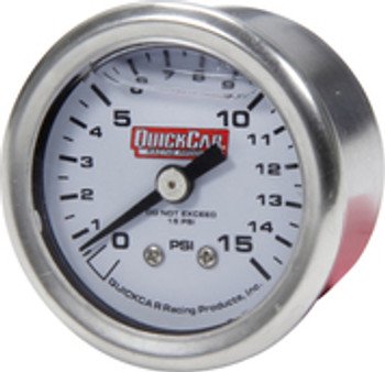 611-9015 Pressure Gauge 0-15 PSI 1.5in Liquid Filled Quickcar Racing Products