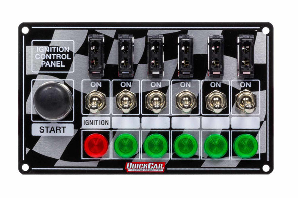 50-164 Ignition Panel Fused w/ Start Button & Lights Quickcar Racing Products