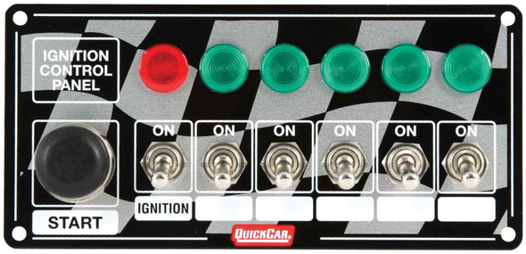 50-165 Quickcar Racing Products Switch Panel Dash Mount 6-7//8 x 2 in 6 Toggle…