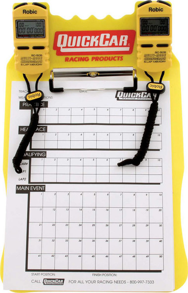 51-053 Clipboard Timing System Yellow Robic Stop Watches Quickcar Racing Products
