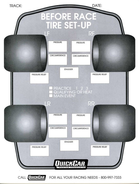 51-210 Before Race Tire Set-Up Forms 50 Sheet Quickcar Racing Products