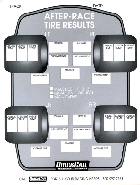 51-215 After Race Tire Set-Up Forms 50 Sheet Quickcar Racing Products