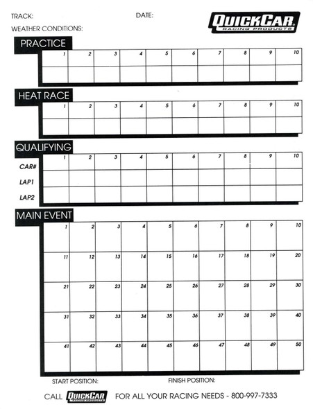 51-230 Time Organizer Sheets 50 Sheets Quickcar Racing Products