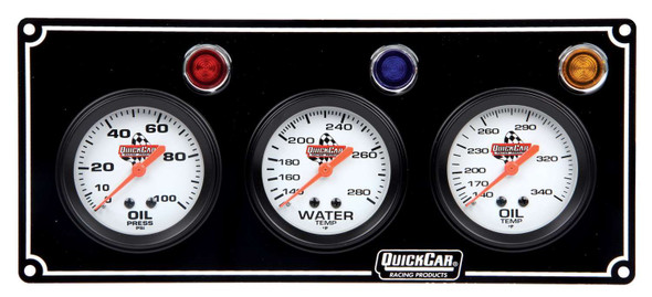 61-6711 3 Gauge Panel Black Quickcar Racing Products