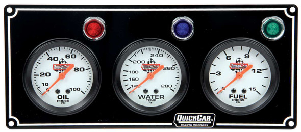 61-6712 3 Gauge Panel Black Quickcar Racing Products