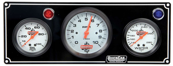 61-67313 2-1 Gauge Panel  w/ Tach Black Quickcar Racing Products