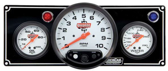 61-6731 2-1 Gauge Panel w/ Tach Black Quickcar Racing Products