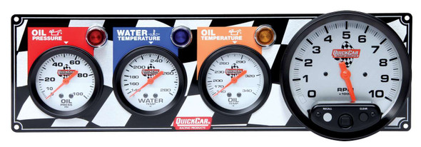 "Flag 3-1 Gauge Panel OP/WT/OT/5"" Tach 61-6041 Quickcar Racing Products"