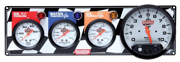 "Flag 3-1 Gauge Panel OP/WT/OT/5"" Tach 61-6041 Quickcar Racing Products"