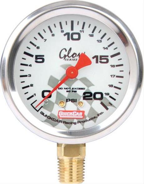 56-222 - Tire Inflator/Gauge - 0-20 psi - Analog - Glow In the Dark - 2-1/4 in Diameter - White Face - Each