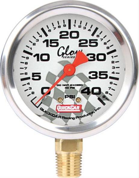 56-242 - Tire Inflator/Gauge - 0-40 psi - Analog - Glow In the Dark - 2-1/4 in Diameter - White Face - Each