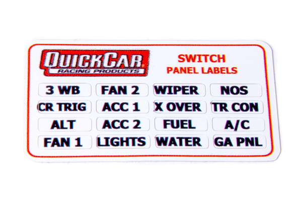 50-004 Switch Panel Stickers Small Ignition Panels Quickcar Racing Products