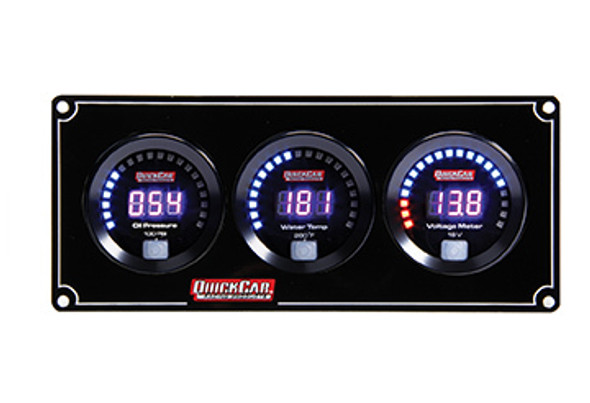 67-3017 Digital 3-Gauge Panel OP/WT Volts Quickcar Racing Products