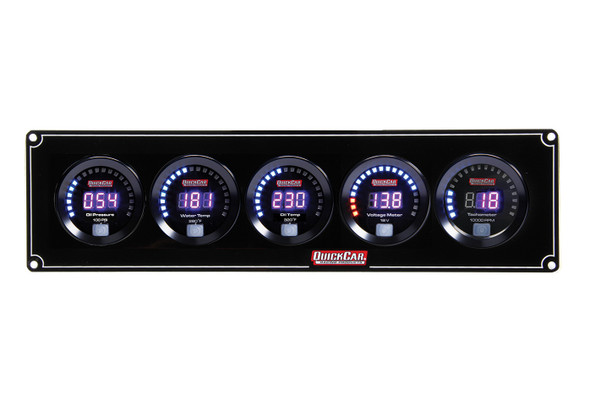 67-4057 Digital 4-1 Gauge Panel OP/WT/OT/Volt w/ Tach Quickcar Racing Products