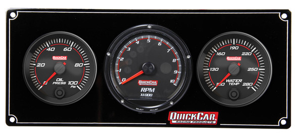 69-2031 Redline 2-1 Gauge Panel OP/WT w/ Recall Tach Quickcar Racing Products