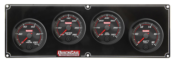 69-4027 Redline 4 Gauge Panel OP/WT/OT/Volt Quickcar Racing Products
