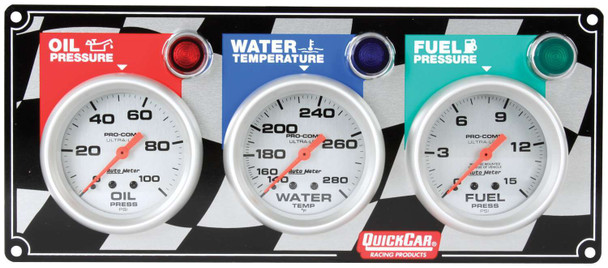3 Gauge Panel Ultra-Lite 61-0281 Quickcar Racing Products