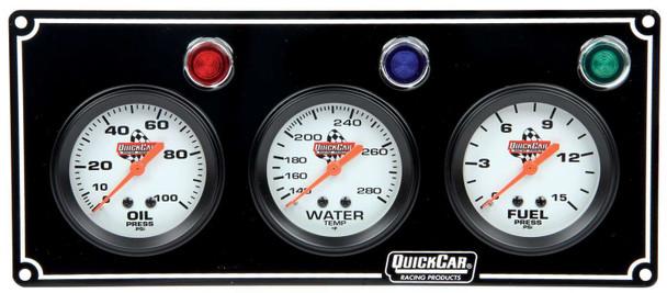 61-6712 3 Gauge Panel Black Quickcar Racing Products