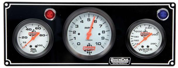61-67313 2-1 Gauge Panel  w/ Tach Black Quickcar Racing Products