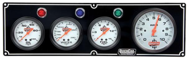 61-67423 3-1 Gauge Panel  w/ Tach Black Quickcar Racing Products