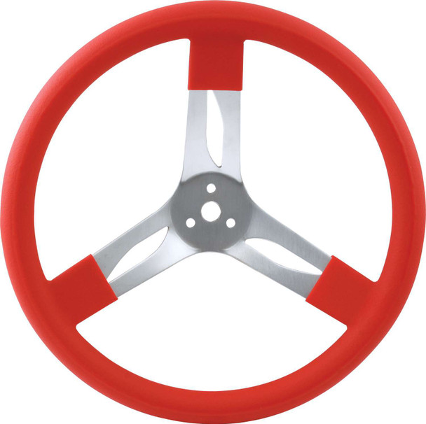 68-0011 15in Steering Wheel Aluminum Red Quickcar Racing Products