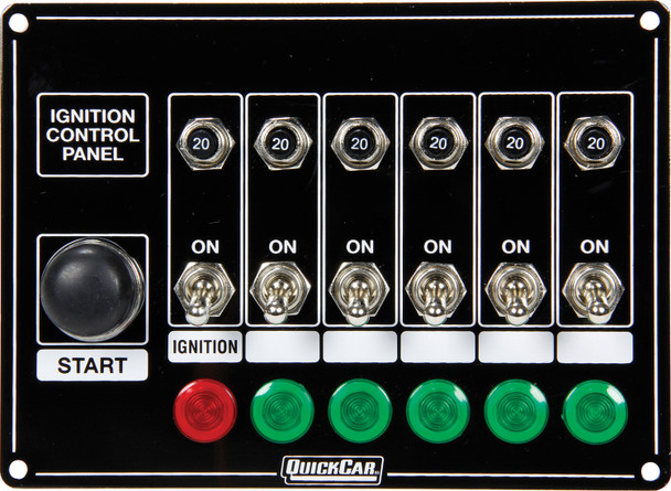 50-869 Ignition Panel w/ Start But. 5 Acc. Circut Brkr Quickcar Racing Products