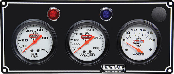 61-6717 3 Gauge Panel / Volt Black Quickcar Racing Products
