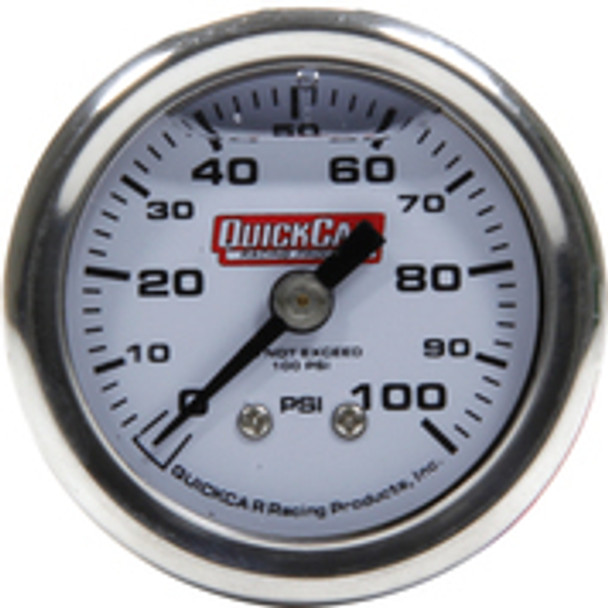 611-90100 Pressure Gauge 0-100 PSI 1.5in Liquid Filled Quickcar Racing Products