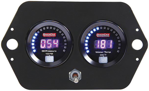 Digital 2-Gauge Panel Open Wheel  w/ Batt 67-2005 Quickcar Racing Products