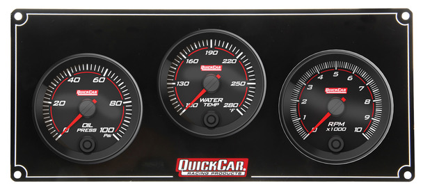 69-2231 Redline 2-1 Gauge Panel OP/WT w/ Recall Tach Quickcar Racing Products