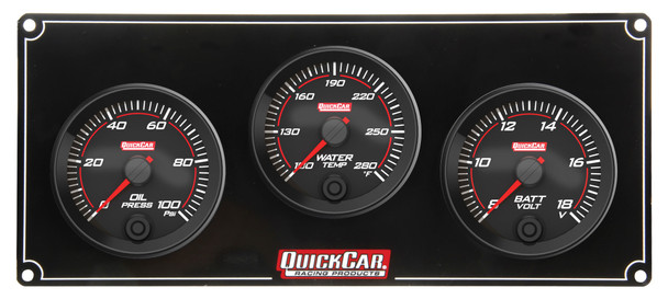 69-3017 Redline 3 Gauge Panel OP/WT/VOLT Quickcar Racing Products