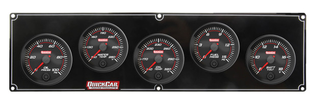 Redline 5 Gauge Panel OP/WT/OT/FP/VOLT 69-5037 Quickcar Racing Products
