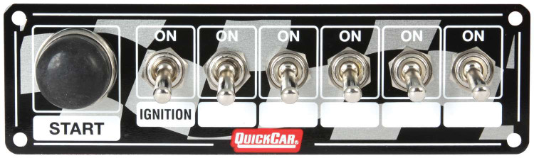 Switch Panel - Dash Mount - 6-7/8 in x 2 in - 6 Toggles/1 Momentary Push Button - Aluminum - Each