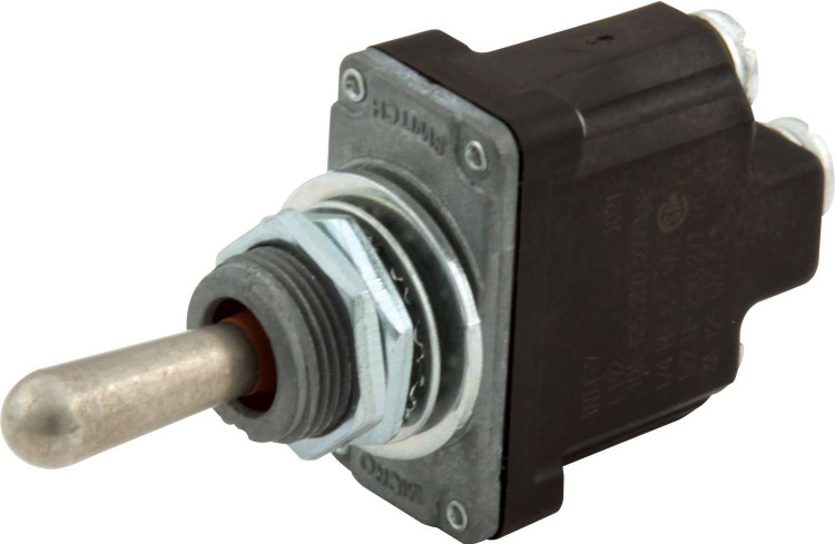 Toggle Switch - Micro - Momentary/Off/Momentary - Weatherproof - Single Pole - 25 Amp Continuous - 12V - Each
