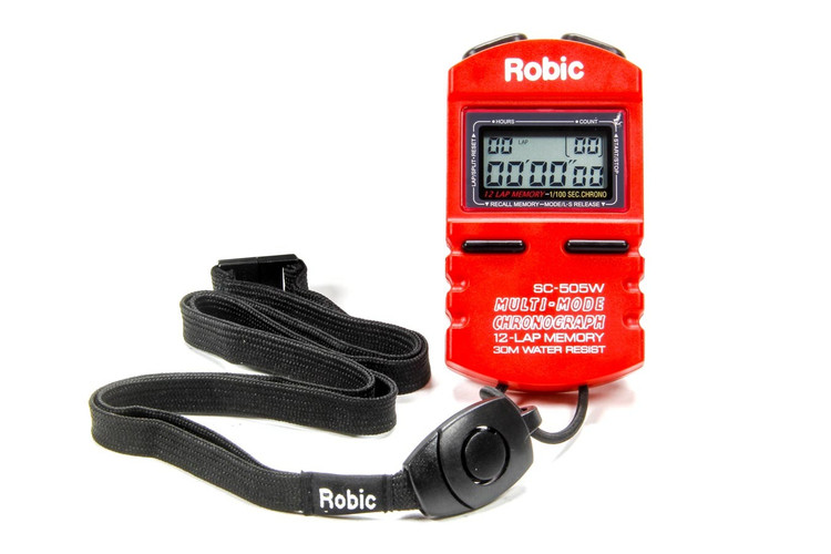 Stopwatch - Digital - 5 Lap Memory - Multi-Mode - Red - Each
