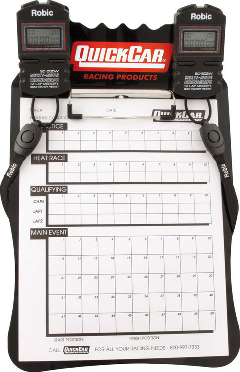 51-052 Clipboard Timing System Black Robic Stop Watches Quickcar Racing Products
