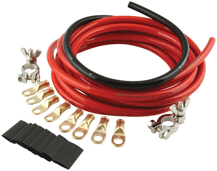 Battery Cable Kit - 2 Gauge - 15 ft Red/2 ft Black - Top Mount Battery Terminals - Terminals/Heat Shrink Included - Kit