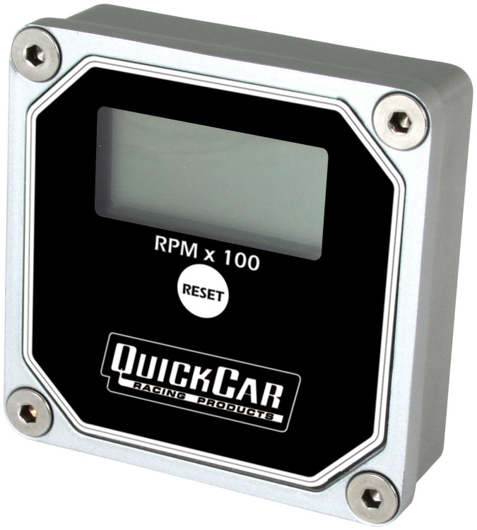Gauge - Tachometer - QuickTach - 0-15000 RPM - Digital - 3 in Wide x 3 in Tall - Recall - 9V Battery - Waterproof - Aluminum - Black - Each