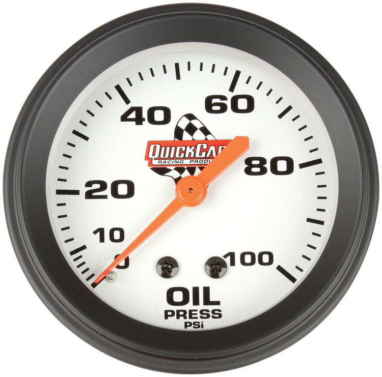 Gauge - Oil Pressure - 0-100 psi - Mechanical - Analog - 2-5/8 in Diameter - White Face - Each