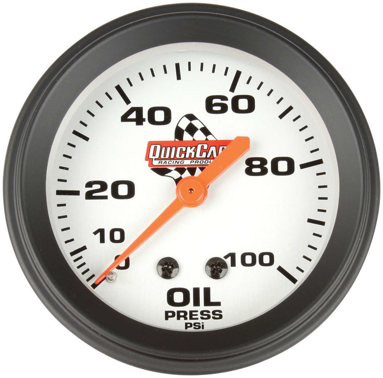Gauge - Oil Pressure - 0-100 psi - Mechanical - Analog - 2-5/8 in Diameter - White Face - QuickCar Sprint Panels - Each