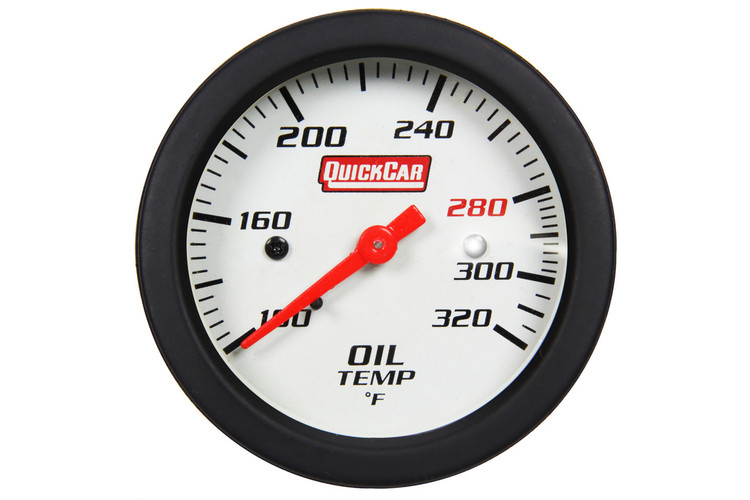 Gauge - Oil Temperature - Extreme - 100-320 Degree F - Mechanical - Analog - 2-5/8 in Diameter - White Face - Built In Warning Light - Each