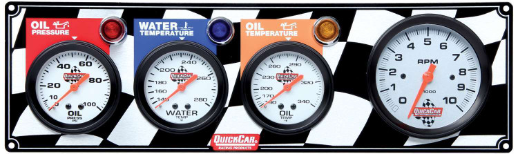 Gauge Panel Assembly - Oil Pressure/Oil Temp/Tachometer/Water Temp - White Face - Warning Light - Kit