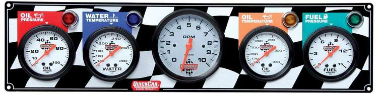 Gauge Panel Assembly - Fuel Pressure/Oil Pressure/Oil Temp/Tachometer/Water Temp - White Face - Warning Light - Kit