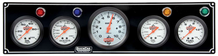 Gauge Panel Assembly - Fuel Pressure/Oil Pressure/Oil Temperature/Tachometer/Water Temp - White Face - Warning Light - Kit