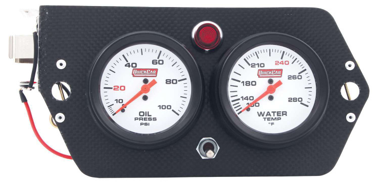 Gauge Panel Assembly - Sprint Panel - Oil Pressure/Water Temp - Magneto Switch - White Face - 9-Volt Battery - Carbon Fiber Panel - Kit