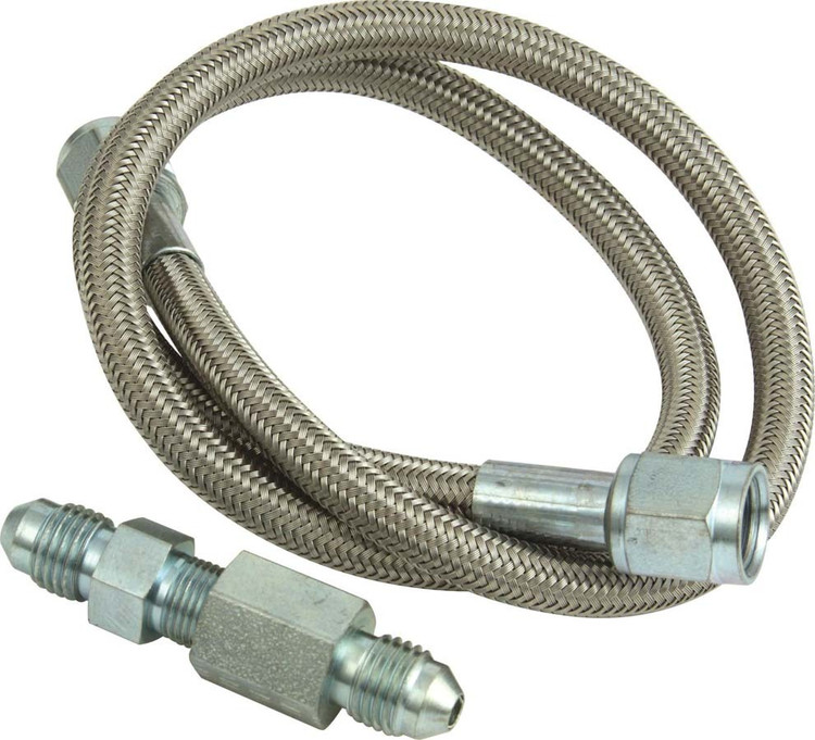 Gauge Line Kit - 4 AN - 24 in Long - 4 AN Female to 4AN Female - Fittings Included - PTFE - Braided Stainless - Mechanical Pressure Gauges - Kit