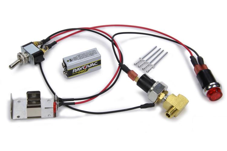 Warning Light - Oil Pressure - 20 psi - 1/8 in NPT Male Thread - Battery/Fitting/Light/Sender Switch//Wiring - Red - Sprint Car - Kit