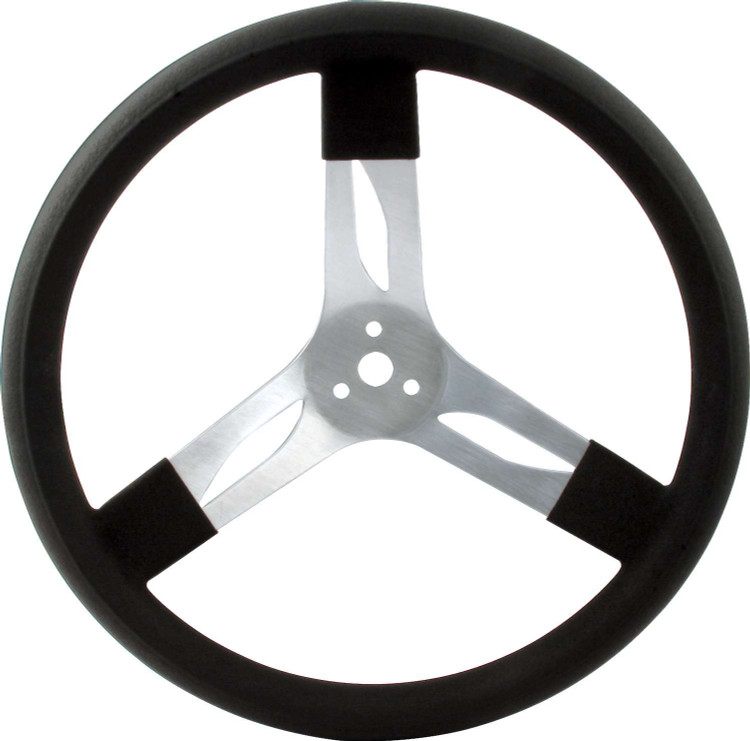Steering Wheel - 15 in Diameter - 3 Spoke - 3 in Dish Depth - Black Rubber Grip - Aluminum - Natural - Each
