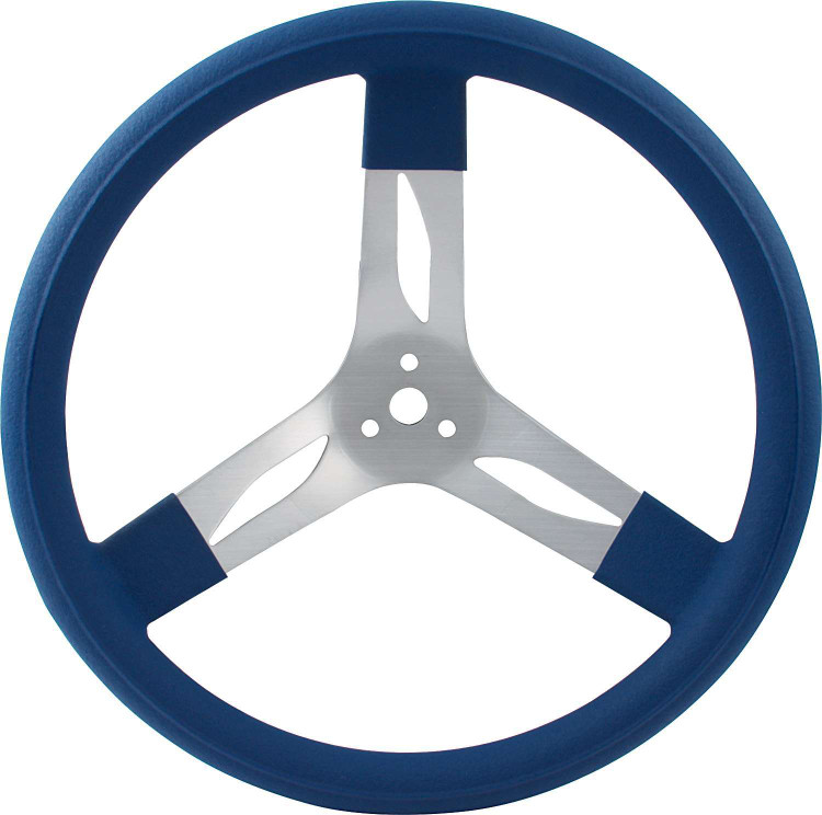 Steering Wheel - 15 in Diameter - 3 Spoke - 3 in Dish Depth - Blue Rubber Grip - Aluminum - Natural - Each